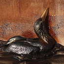 An oil-soaked bird
